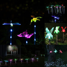 Colorful Butterfly Dragonfly Solar Power Stake Pathway Outdoor Garden Light Lamp