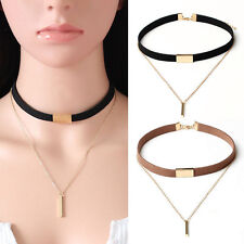 Womens Velvet Choker Necklace Gold Plated Chain Pendant Necklace Rock Jewelry