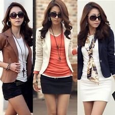 Womens One Button Casual Slim Solid Suit Blazer Jacket Coat Outwear Tops M-XXL