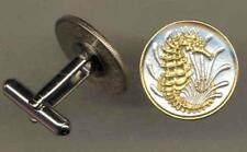 """Handcrafted 24k Gold on Silver Singapore """"Seahorse"""" Coin Cufflinks - 2 Styles"""