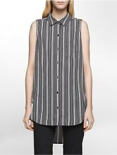 calvin klein womens striped sleeveless tunic shirt