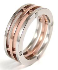 Rose Gold PVD 2 Tone Stack Ring Stainless Surgical Steel 8 mm Sizes 6 7 8 9 10