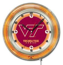 Virginia Tech VT Hokies Logo Neon Wall Clock