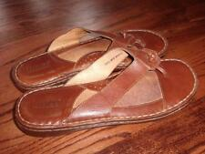Nice BORN Soft Brown Leather Sandals Thongs 42 W-10 M-8 Leather Linings Good Con