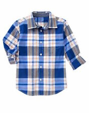 Nwt Gymboree Everyday All Star Blue Plaid Button Up Shirt Size XS(4)
