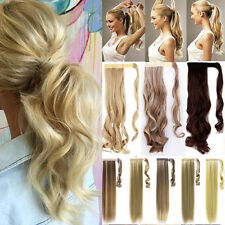 """Long 18-26"""" Wrap Around Ponytail Clip In Real Natural Hair Extensions Brown PC"""
