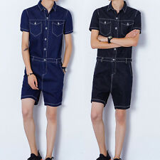 Fashion Men Casual Jumpsuits Short Sleeve Denim Short Pant Rompers Slim Straight