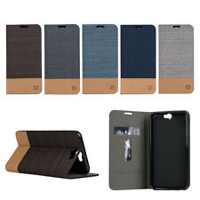 Wallet Flip Case Canvas Leather Phone Stand Shield for HTC Mobile Phone Cover