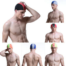 Adults Cotton Fibers & Nylon Swimming Swim Cap Hair Protection Bathing Hat Ears
