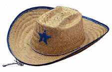Child Blue Red Cowboy Straw Mexican Sheriff Hat Western Costume Accessory NEW