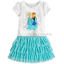 Disney Store Princess Frozen Elsa Anna and Skort Skirt Set Sizes 2 4 Dress