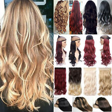 Long Straight Curly 100% THICK Clip In Hair Extensions Ombre Brown 3/4 Full Head