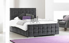 Fabric Bed Frame Upholstered In Charcoal Chenille Diamantes 4FT6 Double 5ft King