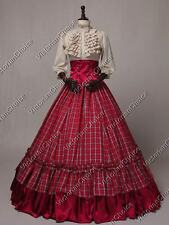 Civil War Victorian Western Tartan 3PC Dress Ball Gown Theater Reenactment K001