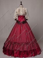 Civil War Victorian Plaid Country Maiden Dress Gown Theater Period Clothing K001