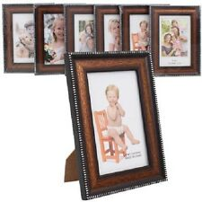 "1-10 Lots of 4x6"", 5x7"", 6x8"" Brown Wood Picture Photo Frame, Silver Border,Bulk"