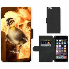 Phone Card Slot PU Leather Wallet Case For Apple iPhone duckling blaze fire