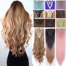 8PC Real Natural Long Clip In Hair Extensions Premiun Ombre For Human 18 Clips