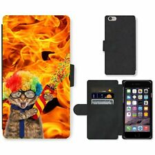 Phone Card Slot PU Leather Wallet Case For Apple iPhone funny cat blaze