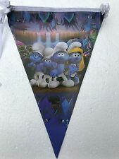 SMURFS Banner Birthday Party Theme Decoration 1 Set 2.5m 10 Flags UK