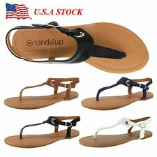 Women's Flat Sandals Summer Flip Flops Bohemia Beach Thong T Strap Strappy Shoes