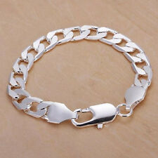 Women Silver Plated Flat Curb Chain Lobster Clasp Jewelry Bracelet Gift Dreamed