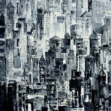 Metropolis Abstract Thick Oil painting On Canvas For Hotel Wall Art