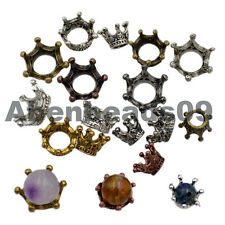 Solid Metal Crown Big Hole Bracelet Connector Charm Beads Findings