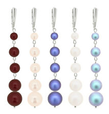 Sterling Silver Long Earrings Hooks made with 5810 Pearls Swarovski® Crystals