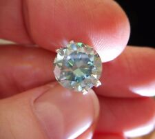 HYPNOTIC! 4.00 ct VS2 10.45 mm FANCY BLUE PEACOCK LOOSE ROUND MOISSANITE