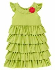 NWT Gymboree Pretty Posies Green Ruffled Tiered Dress Size 3,4,7