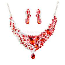 Crystal Statement Necklace Earrings Elegant Wedding Prom Pageant Jewelry Set