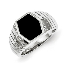 Men'S 925 Sterling Silver Octagon Onyx and Cubic Zirconia Ring