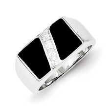 Men'S 925 Sterling Silver Irregular Shape Onyx and Cubic Zirconia Ring