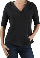 BILLABONG SMALL CHARCOAL GRAY FRILLED PULLOVER CINCHED HOODIE SWEATSHIRT NWT