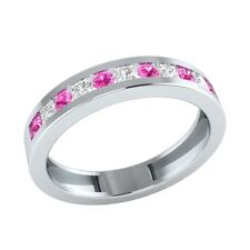0.38 ct Round & Princess Cut Pink & White Sapphire Solid Gold Half Eternity Ring