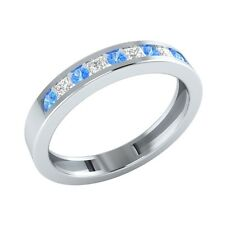 0.25 ct Round Blue Topaz & Princess Sapphire Solid Gold Half Eternity Band Ring