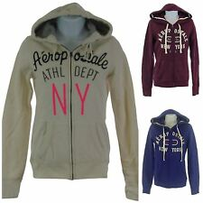 Aeropostale Women's Juniors Indigo, Plum or Off White Full Zip Hooded Sweatshirt