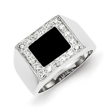 Men'S 925 Sterling Silver Cluster Bezel Onyx and Cubic Zirconia Ring