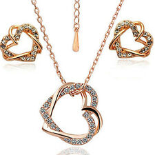 Gold Plated Austrian Crystal Double Heart 2 And 3 Pieces Jewelry Set