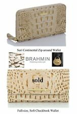 Brahmin Champagne Melbourne Genuine Leather Faux Croc wallets, zip or snap, NWT