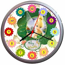 NEW! Gold or Silver Wall Clock TINKERBELL Disney Fairies Kids Bedroom custom