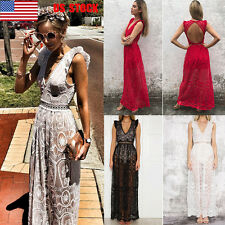 Women V Neck Lace Backless Sleeveless Party Prom Perspective Long Dress Jumpsuit