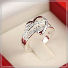 Heart Women Lady Crystal CZ White Gold Plated GP Engagement Wedding Band Ring