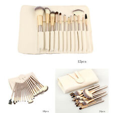 12/18/24pcs Professional Makeup Brushes Champagne Cosmetic Set With Leather Case