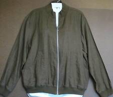"CHICOS JACKET-SZ 2- MED-BUST42""LENGTH 23""-BROWN -100% LINEN L/S- FRONT ZIPPER"