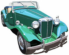 MG MG-TD sports car canvas art print red or green MG TD -