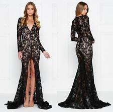 Black Sheer Lace Long Sleeve Plunge V Neck Front Slit Maxi Dress Gown Sexy NWT