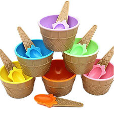 1Pcs Container Cup Couples Bowl With Spoon Ice Cream Eco-Friendly Dessert Kids