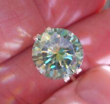 HYPNOTIC! 4.37 ct VVS1 10.91 mm FANCY GREEN BLUE PEACOCK LOOSE ROUND MOISSANITE